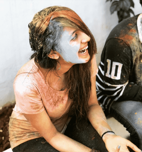 Niharika Konidela playing Holi
