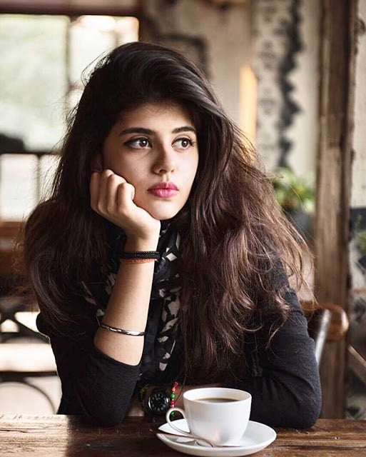 Sanjana Sanghi with Coffee