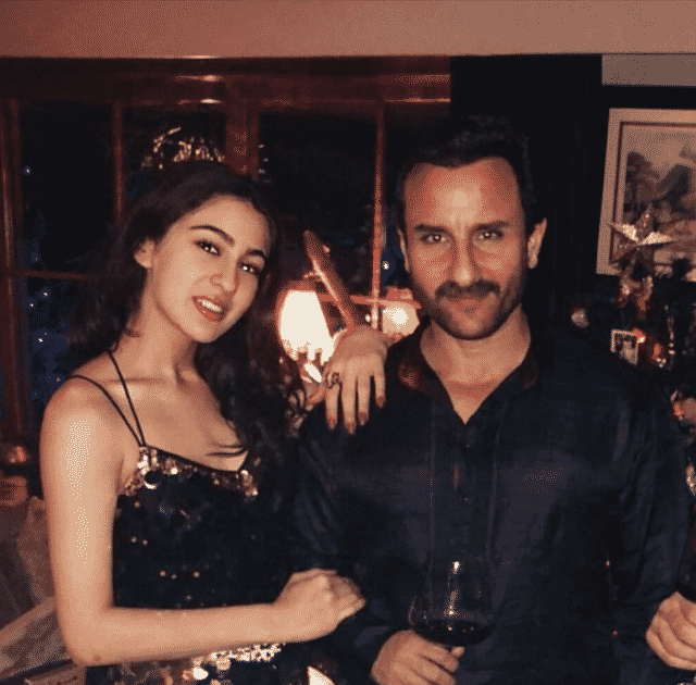Sara Ali Khan with Saif Ali Khan