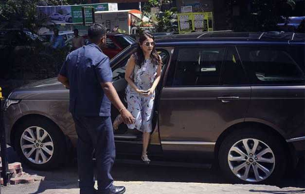 Anushka Sharma in her Range Rover Vogue SUV